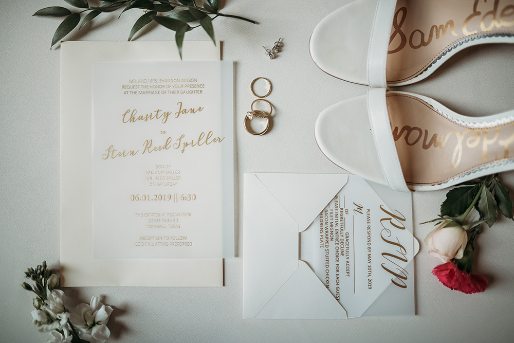 wedding - stationary - invitations - flatlay- bridal shoes