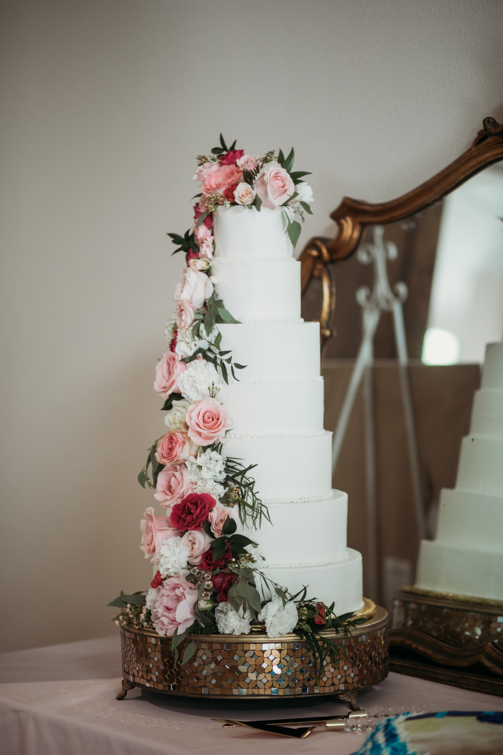 wedding cake - cascading flowers
