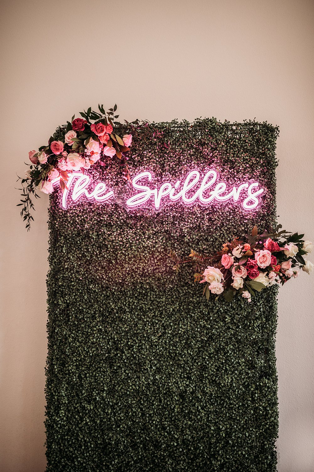 picture wall - neon sign - florals