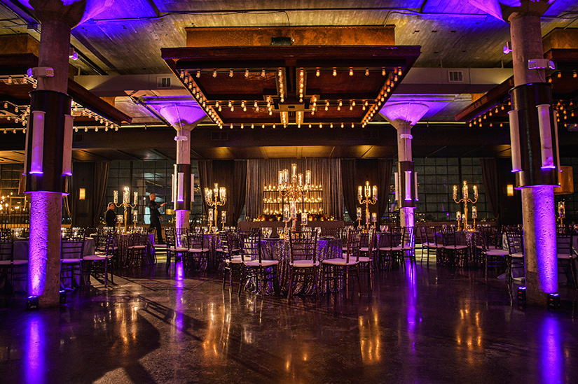 houston wedding, the astorian, black & gold, purple lighting, tablescape