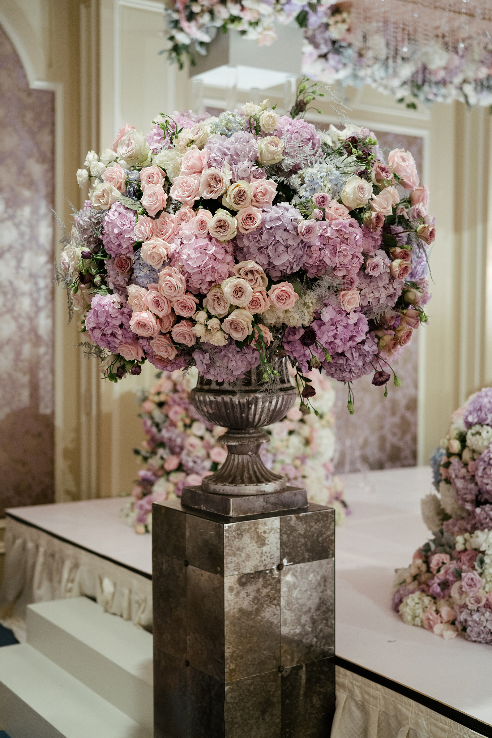 Purple Floral Centerpiece, Pink, Pewter Vase, Todd Events, Hotel Wedding