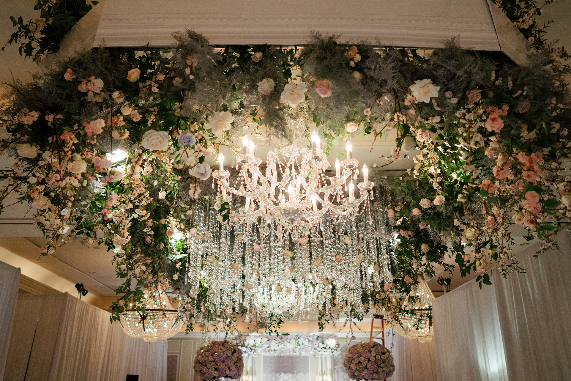Wedding Decor, Floral Ceiling Treatment, Todd Events, Hotel Wedding, Houstonian Hotel, Chandelier