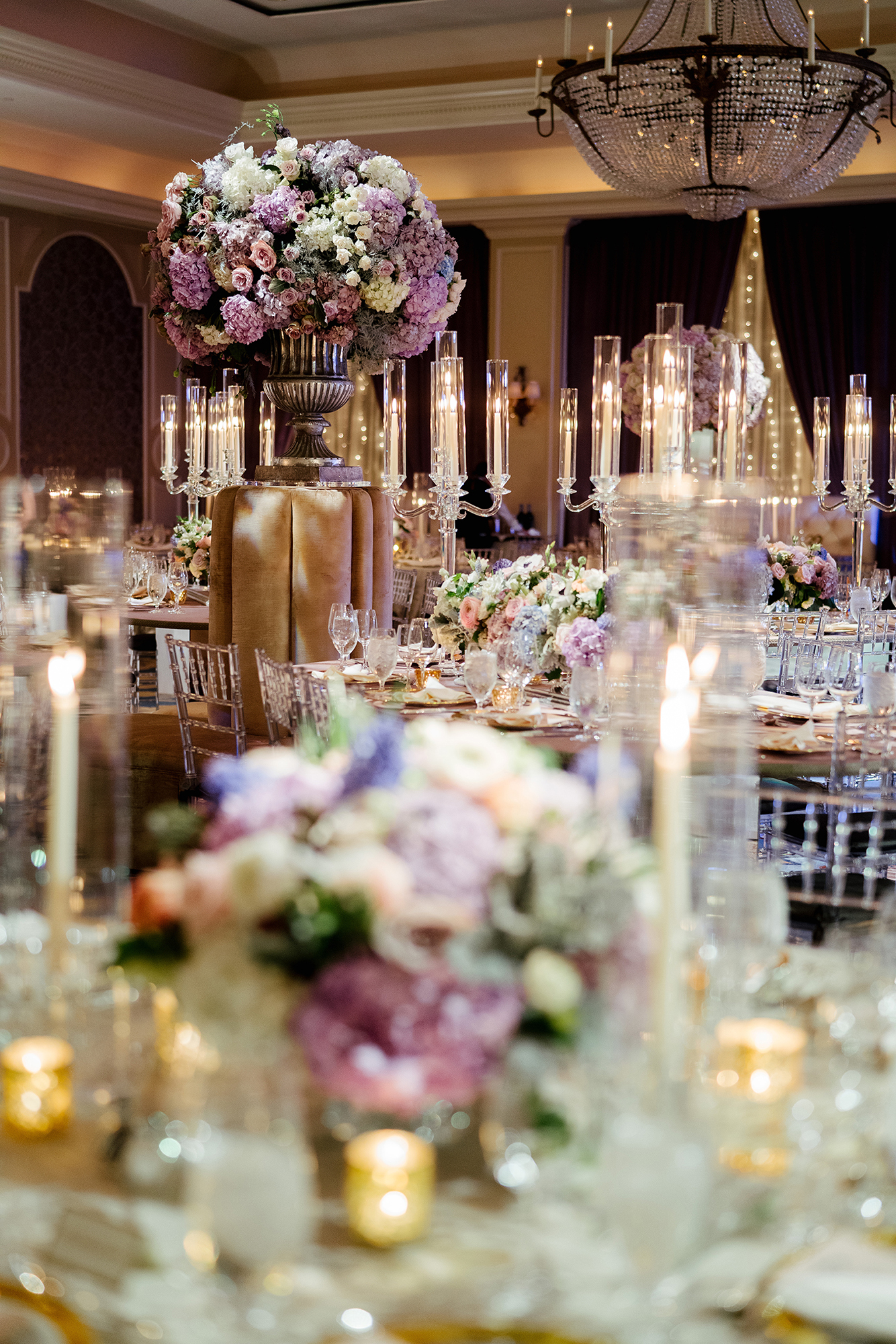 reception decor, wedding inspiration, purple and pink, floral centerpiece, tablescape, candles