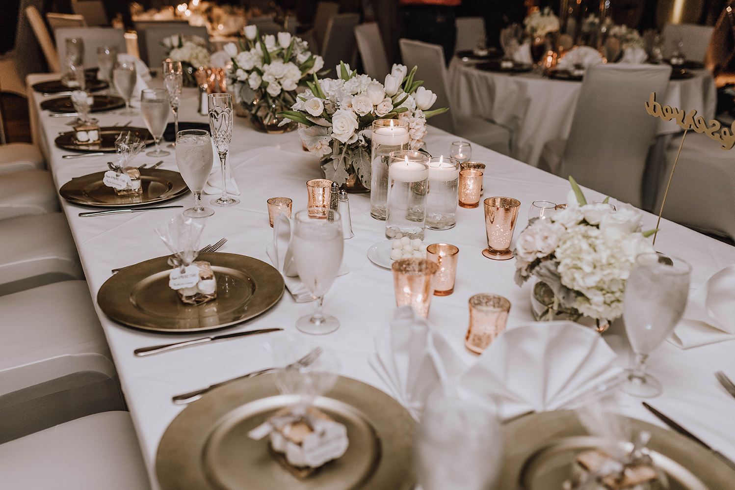 houston wedding, tablescape, place setting, white, copper, gray, reception, decor