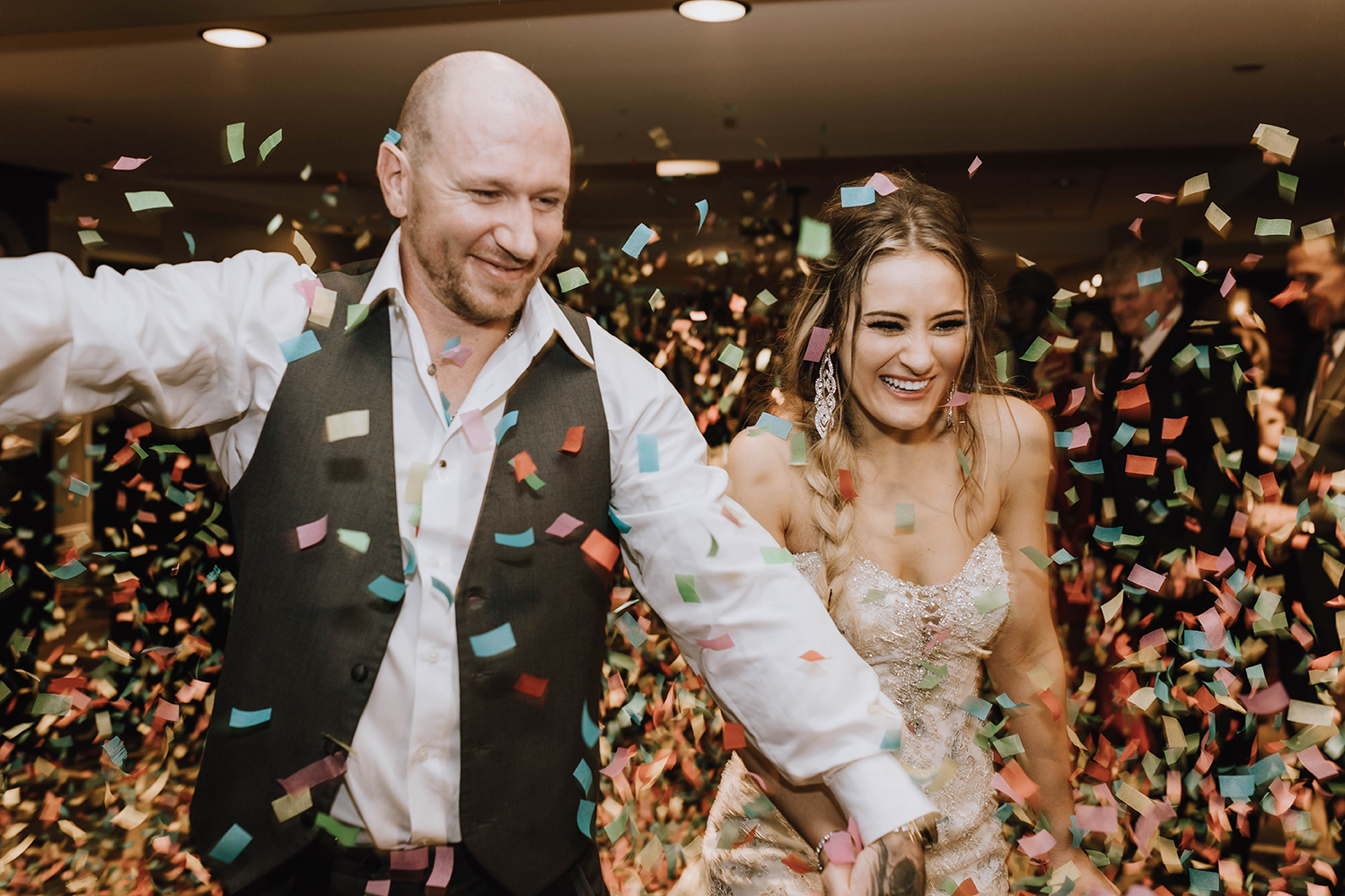 houston, hotel wedding, confetti, couple exit