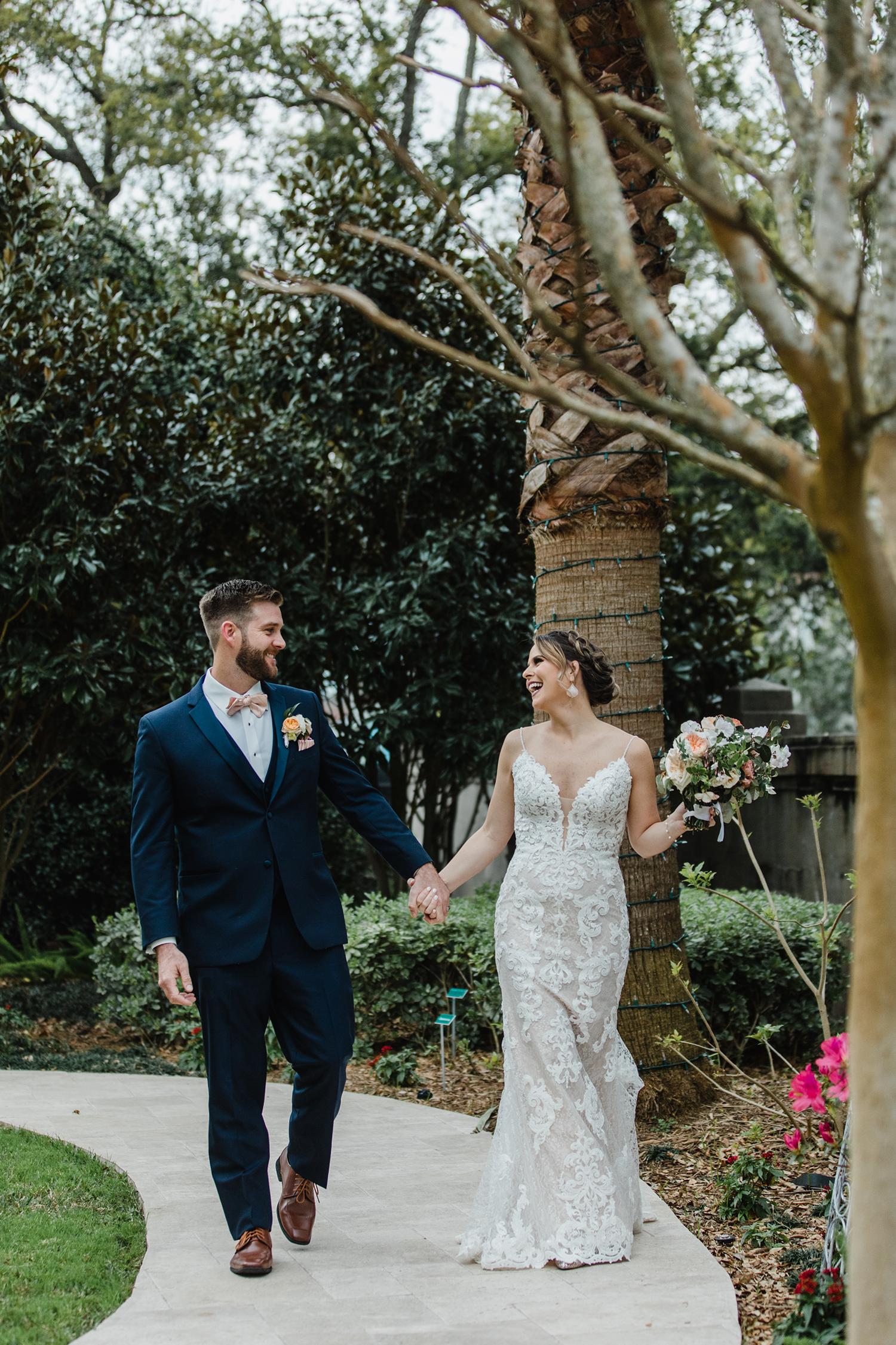 beautiful wedding dress - navy tuxedo - photos