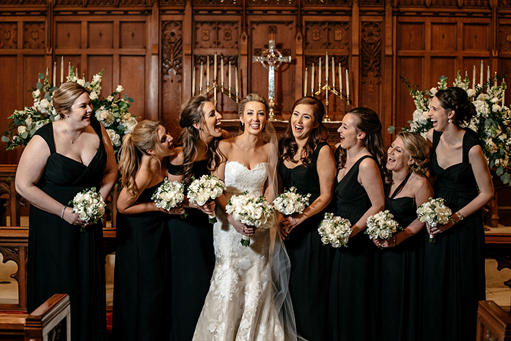 Houston Wedding, bridal party, bridesmaids, bride, church