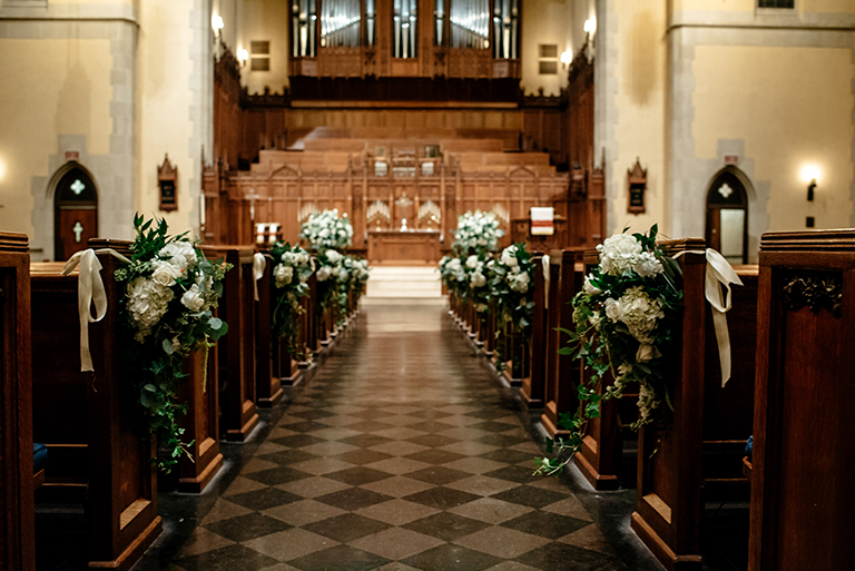 houston wedding, church, ceremony decor