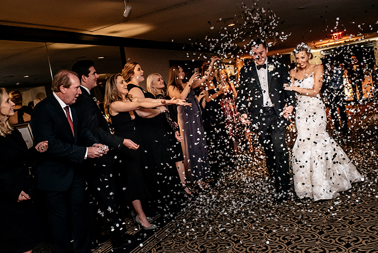 houston wedding, couple exit, confetti, hotel wedding, hotel zaza