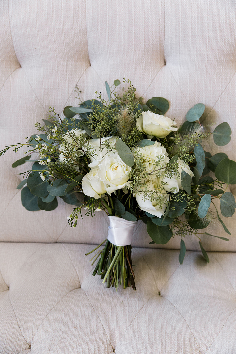 wedding bouquet - roses - white