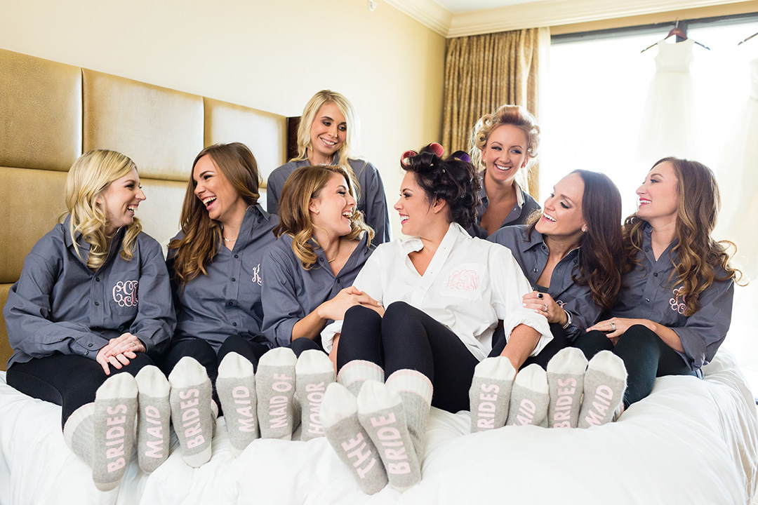 houston wedding, bridal party, getting ready, bridesmaids, bride