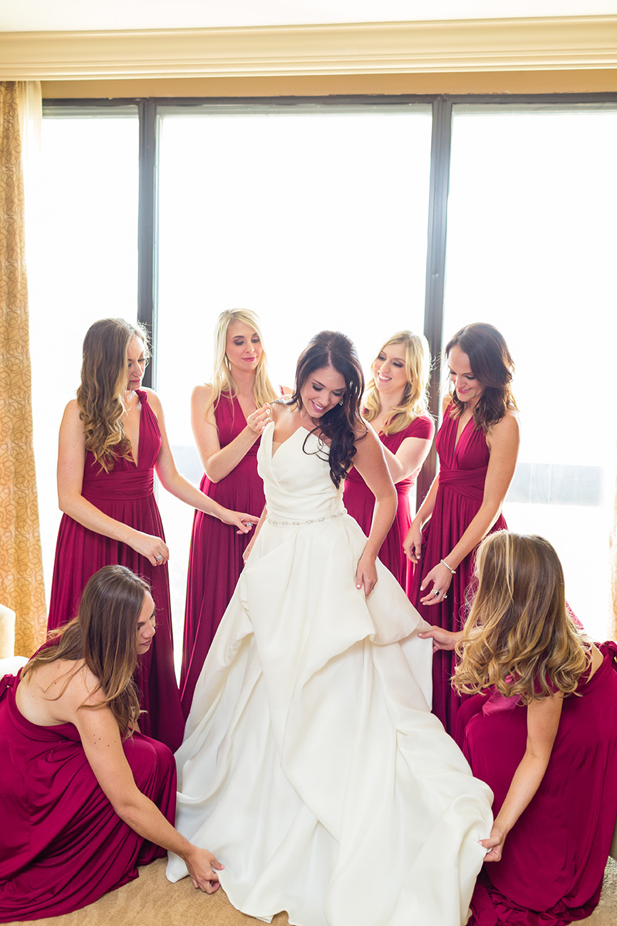 bridal party, bella bridesmaids, bride, gown
