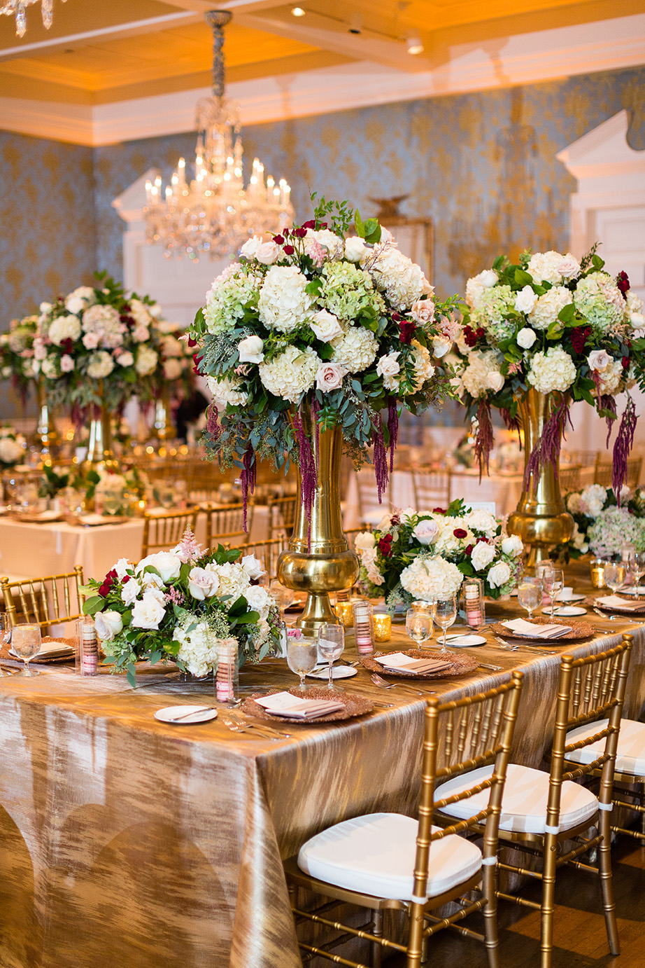 Houston wedding, reception decor, wedding inspiration, gold, wine, cream floral centerpieces