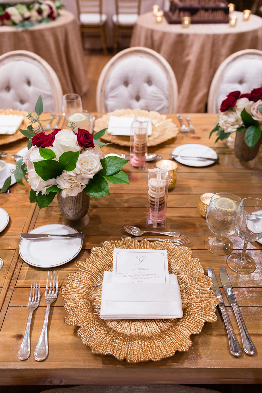 Houston wedding, reception decor, wedding inspiration, gold, wine, place setting