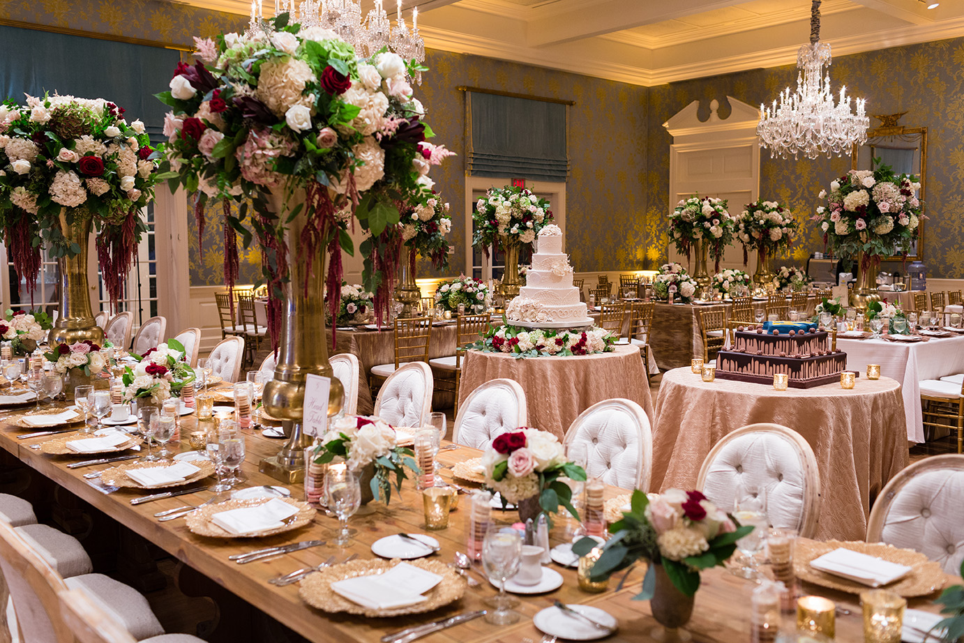 Houston wedding, reception decor, wedding inspiration, gold, wine, tablescape