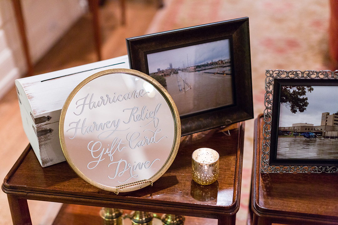 houston wedding, welcome, guest cards, Hurricane Harvey