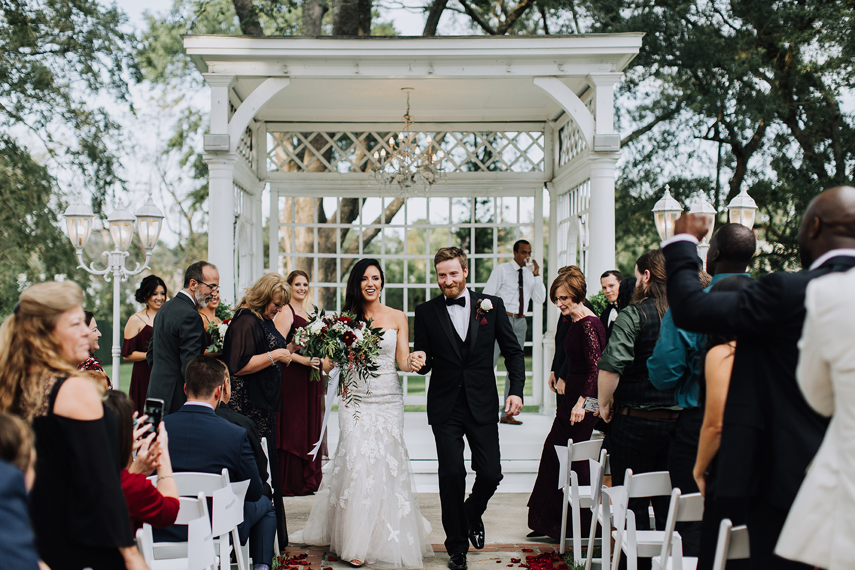 gazebo, outdoor ceremony setup, garden wedding, wedding photography, newlyweds