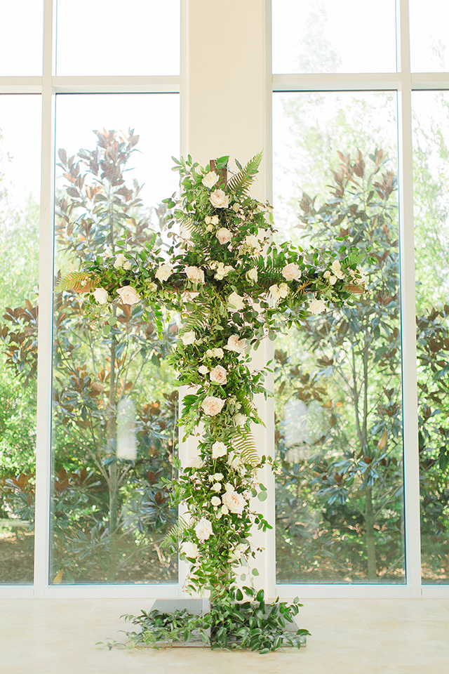 houston wedding, chapel, ceremony decor, floral cross
