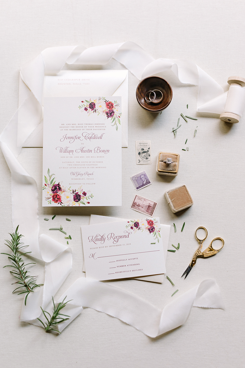 flat lay - invitations - stationary - white - classic