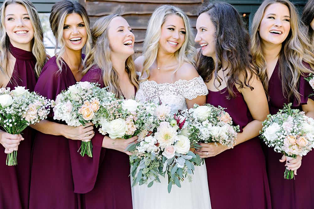 bridal party - bride tribe - burgundy bridesmaid dresses
