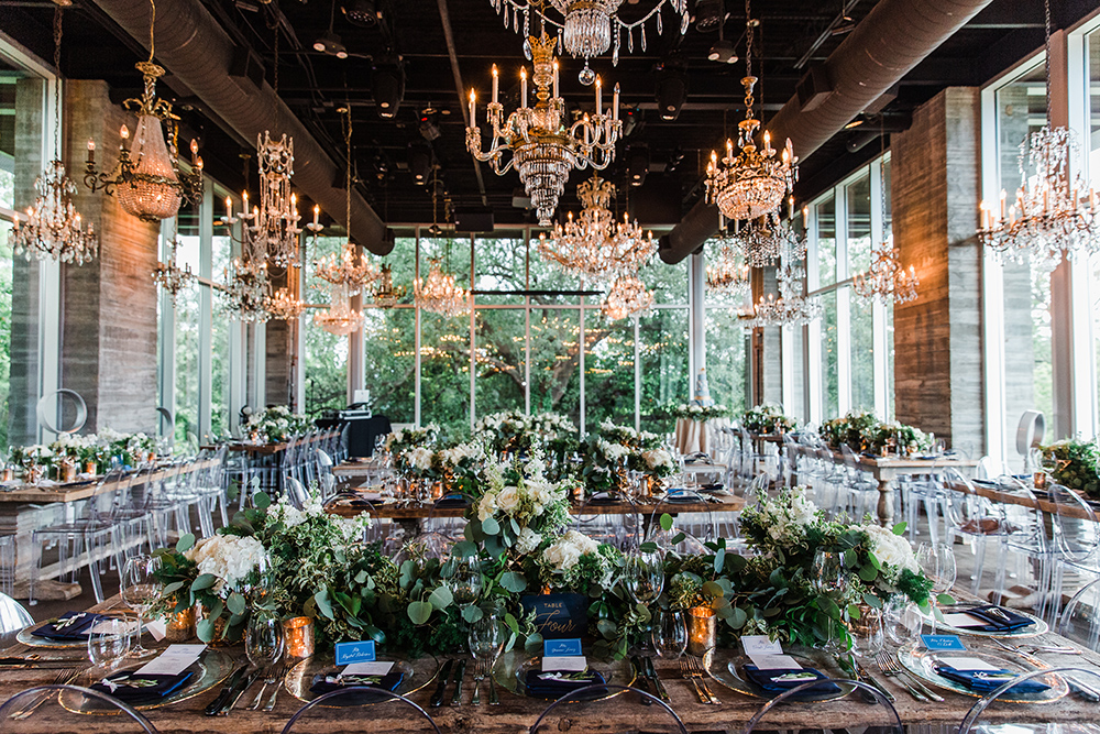wedding reception decor - greenery - white florals