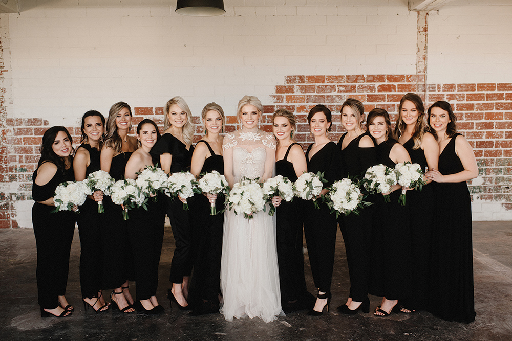 bridal party - black bridesmaids jumpsuits
