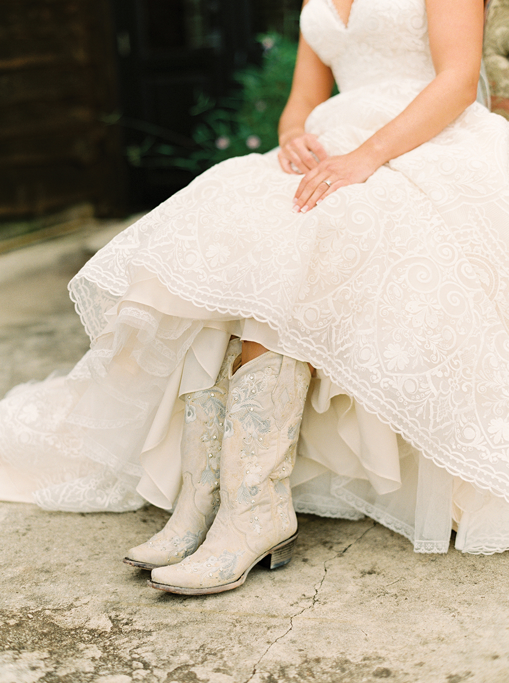 bridal gown photo - cowgirl boots