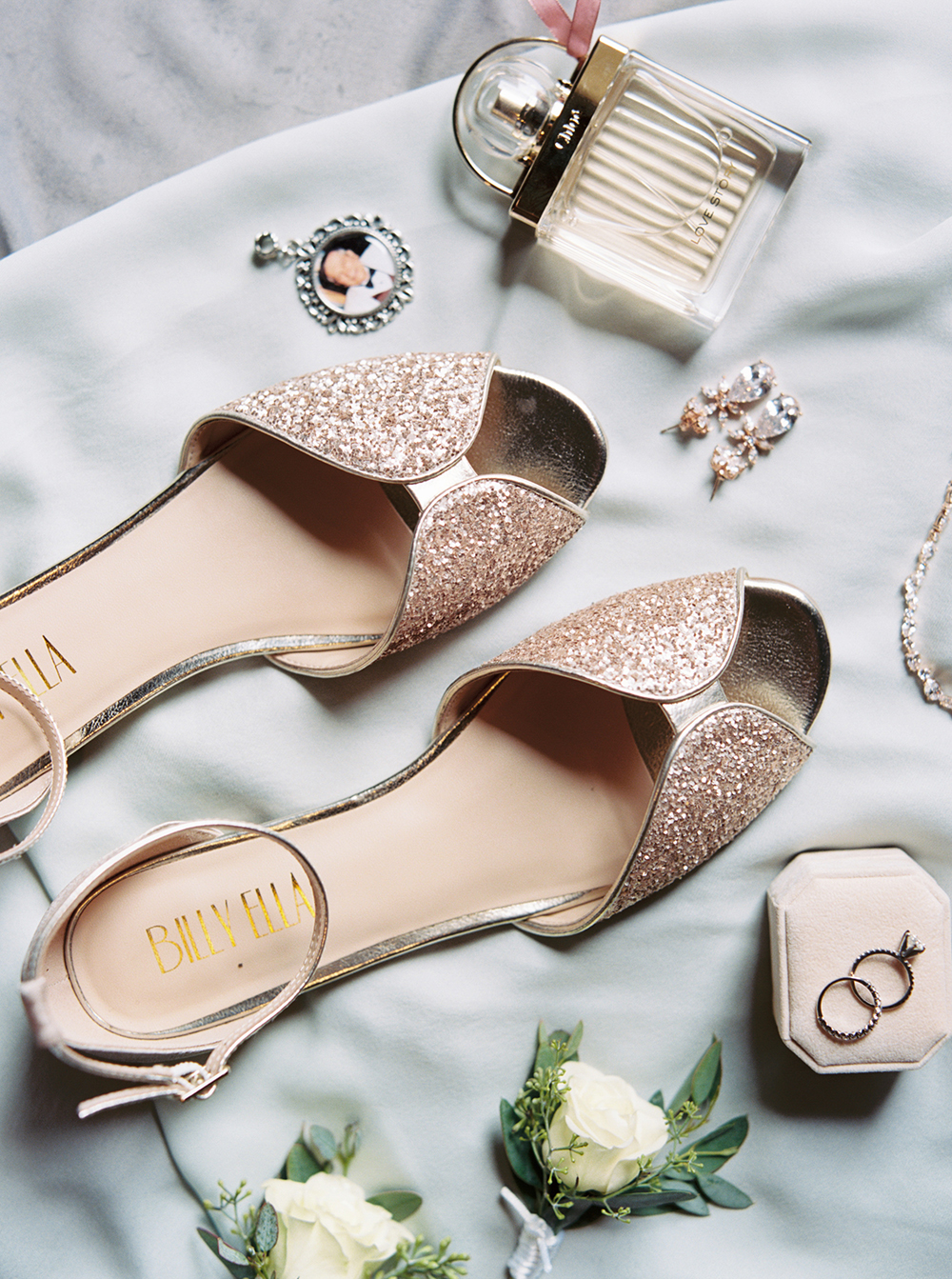 bridal accessories - shoes - jewelry - flatlay