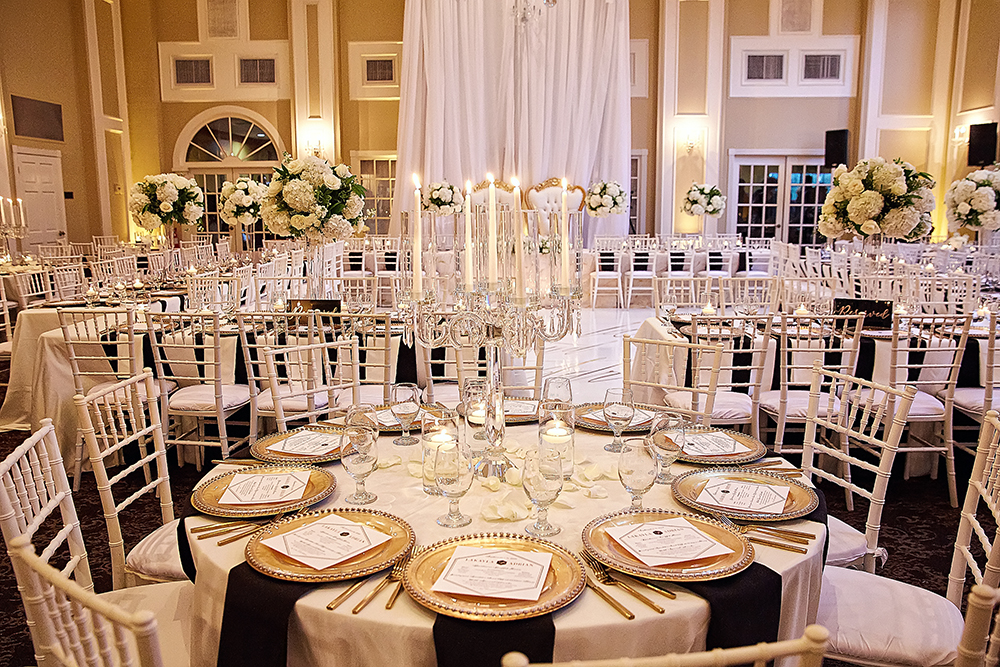 wedding reception, tablescapes, black and gold wedding