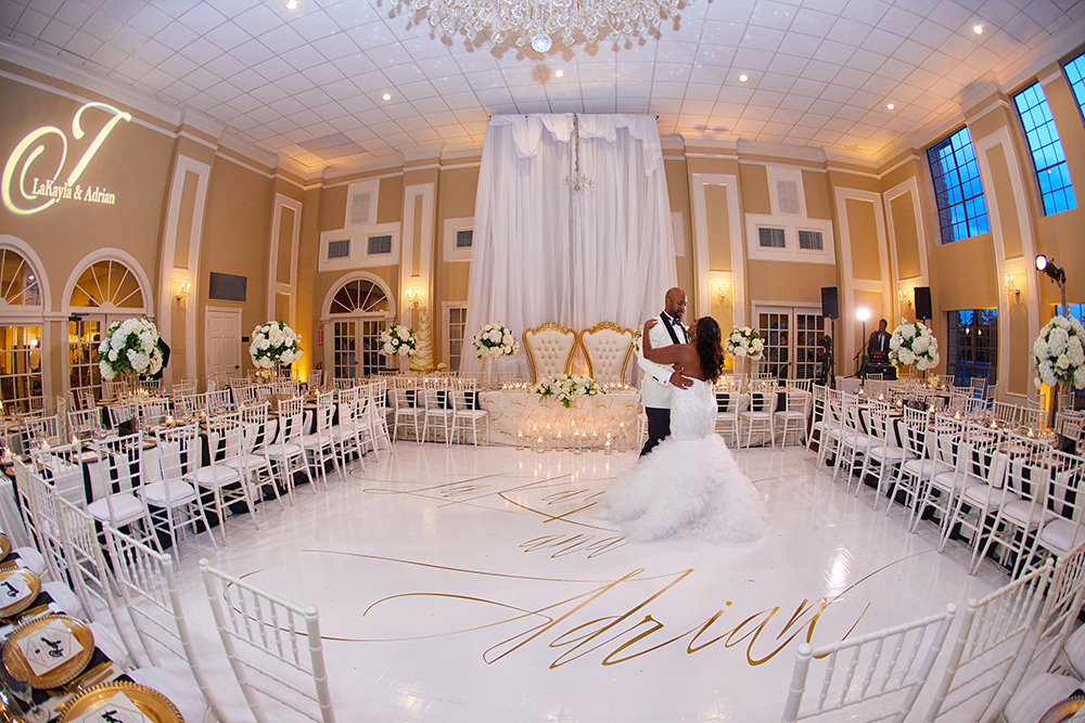 customized dance floor for gold and white wedding