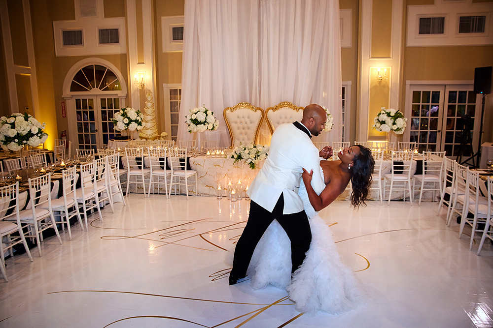 custom dance floor for couples first dance at reception
