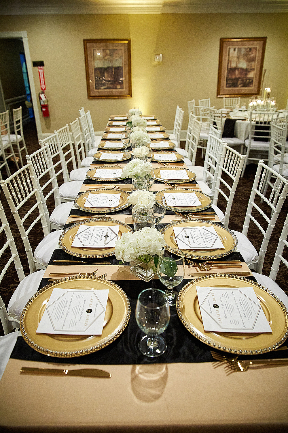 gold charger plates for reception decor at country club venue