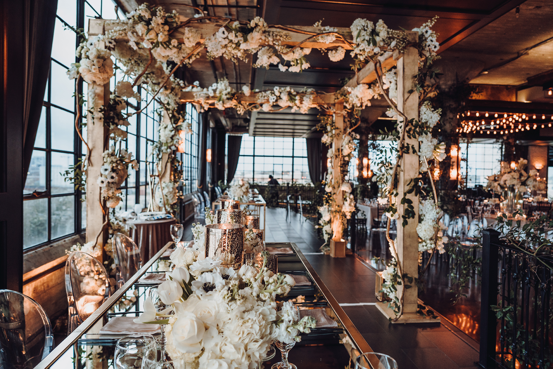 Houston Wedding, Reception Decor, Floral Canopy, White Florals