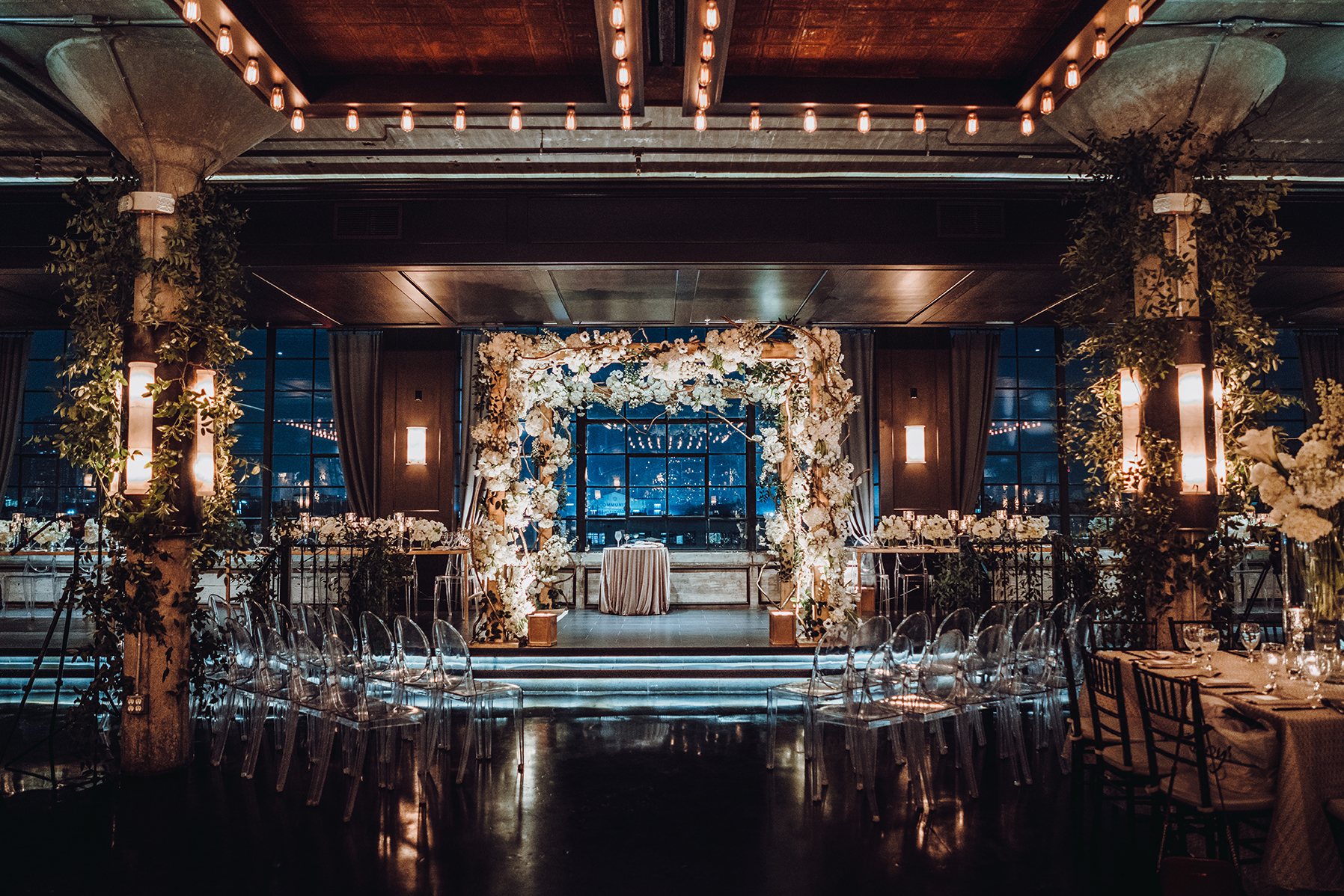 Houston Wedding, Ceremony Decor, Floral Canopy, The Astorian, Night Wedding