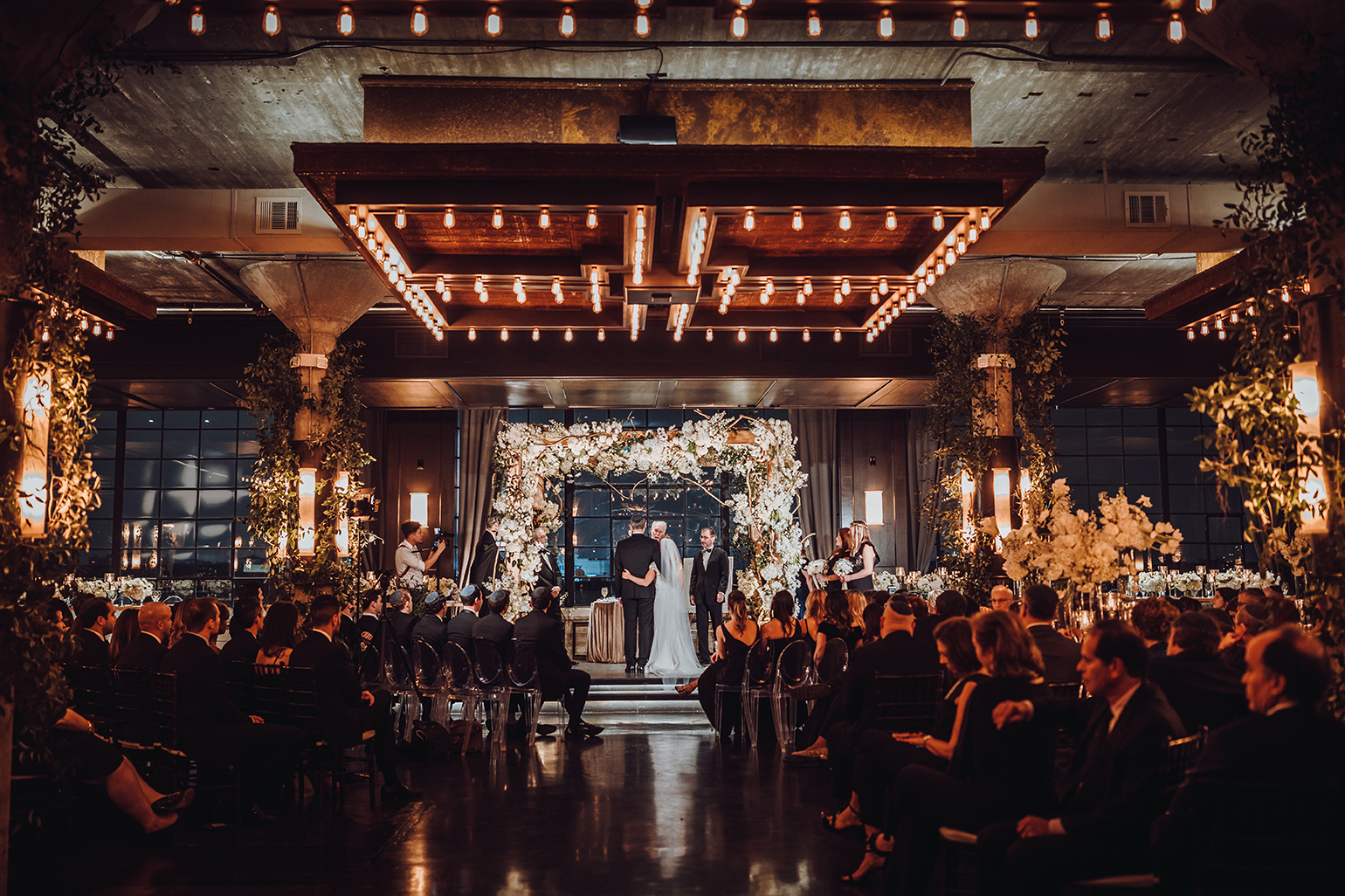 Houston Wedding, The Astorian, Jewish Wedding, Wedding Ceremony, Floral Canopy