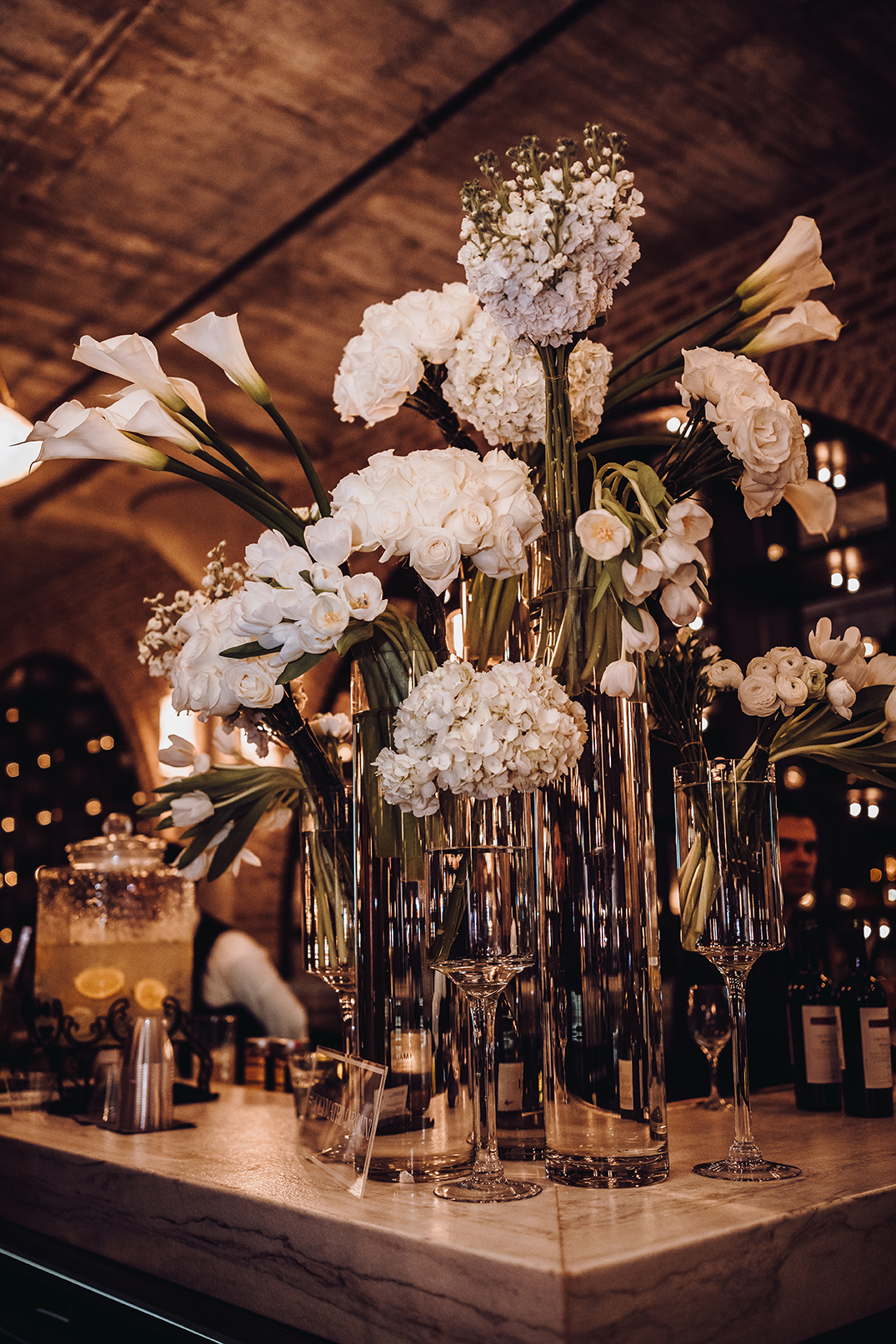 Houston Wedding, Bar Decor, White Flowers, Wedding Decor