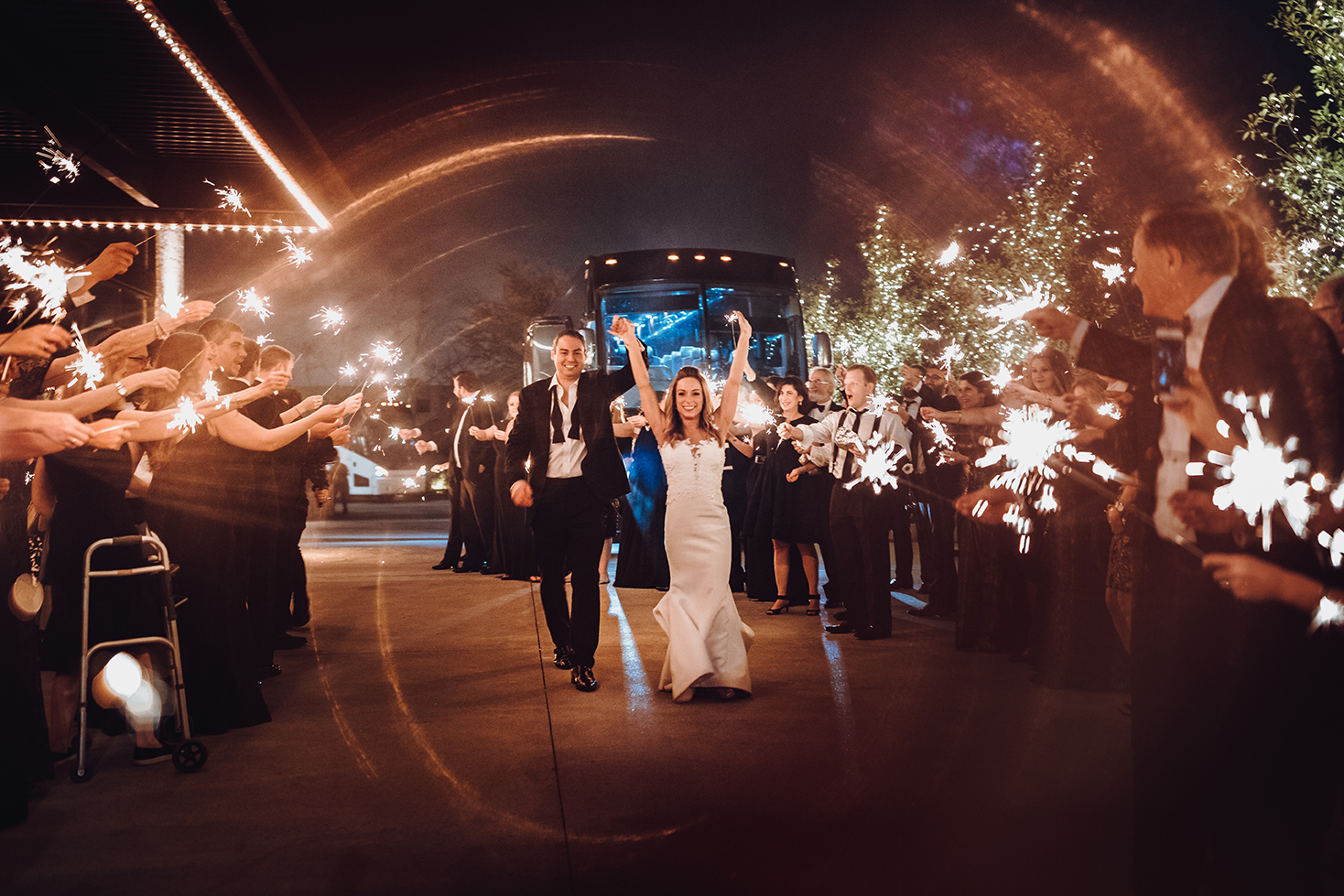 Houston Wedding, The Astorian, Couple Exit, Sparklers