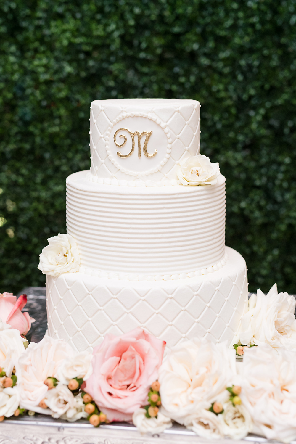 white and gold wedding cake by houston baker susie's cakes and confections