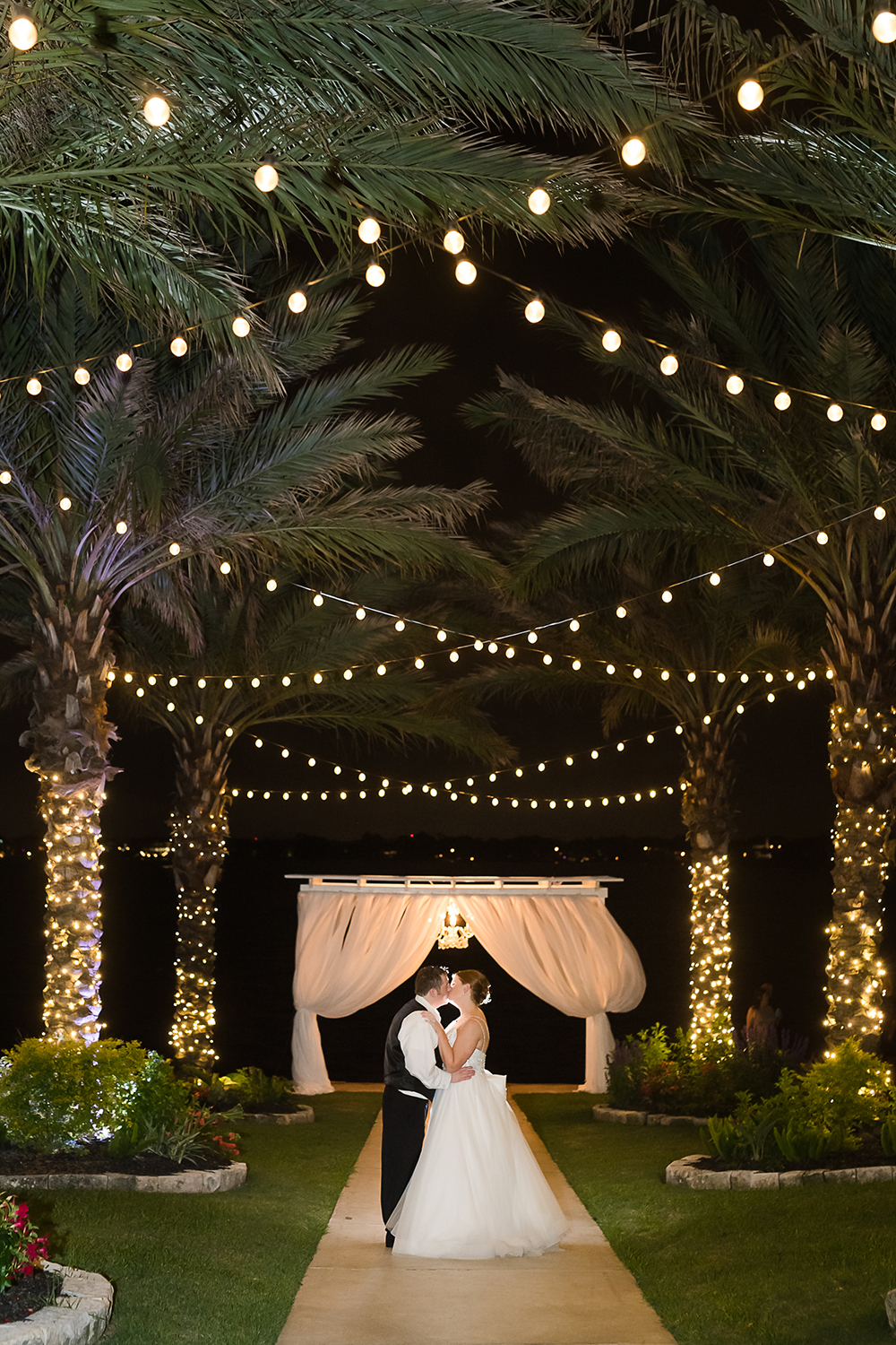 string light wedding ceremony and reception
