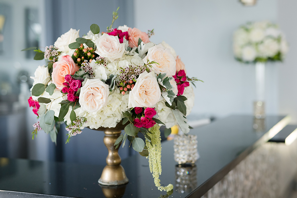 blush and pink flowers for wedding reception