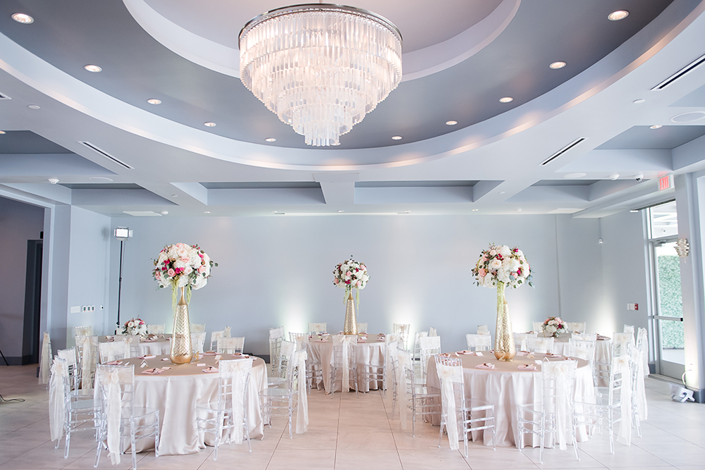 waters edge wedding reception, chandelier, ballroom wedding