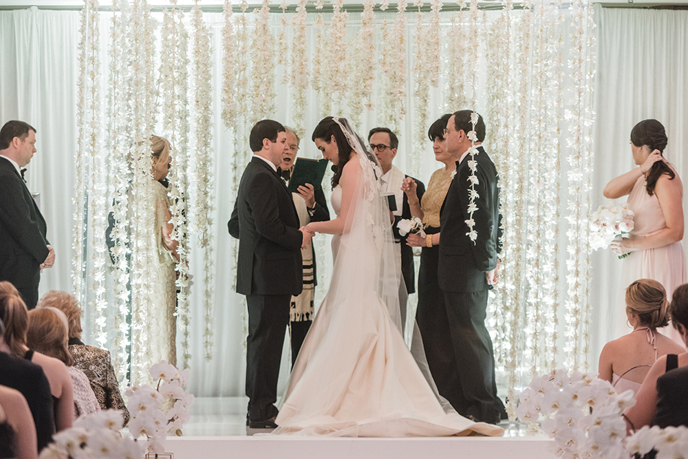 indoor wedding ceremony - floral chuppah - orchids
