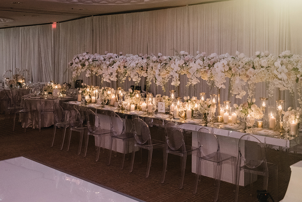 wedding reception - ballroom - floral centerpieces