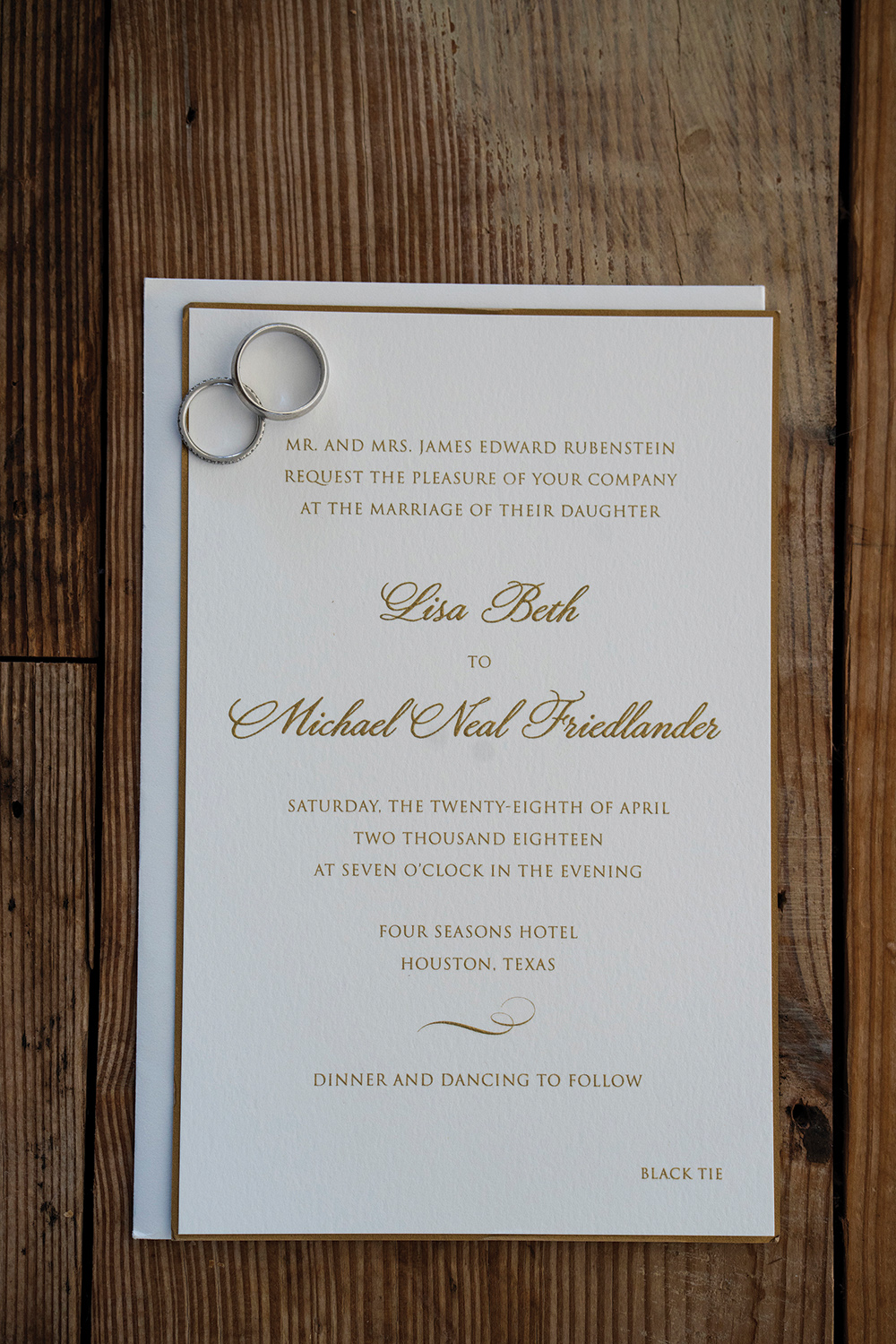 flatlay - wedding invitation - rings