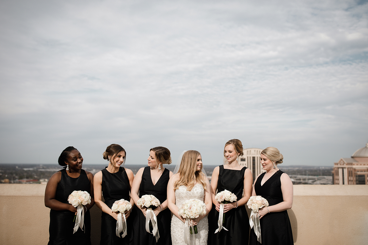 black bridesmaids dresses - chic, modern wedding theme