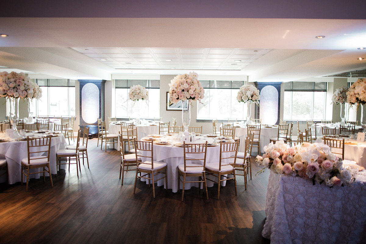 wedding reception layout, decor and flowers