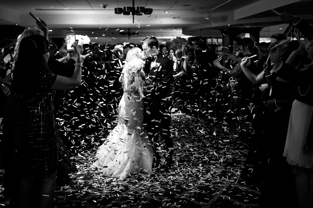 the exit - confetti - leaving the wedding - grand exit from wedding reception - celebration