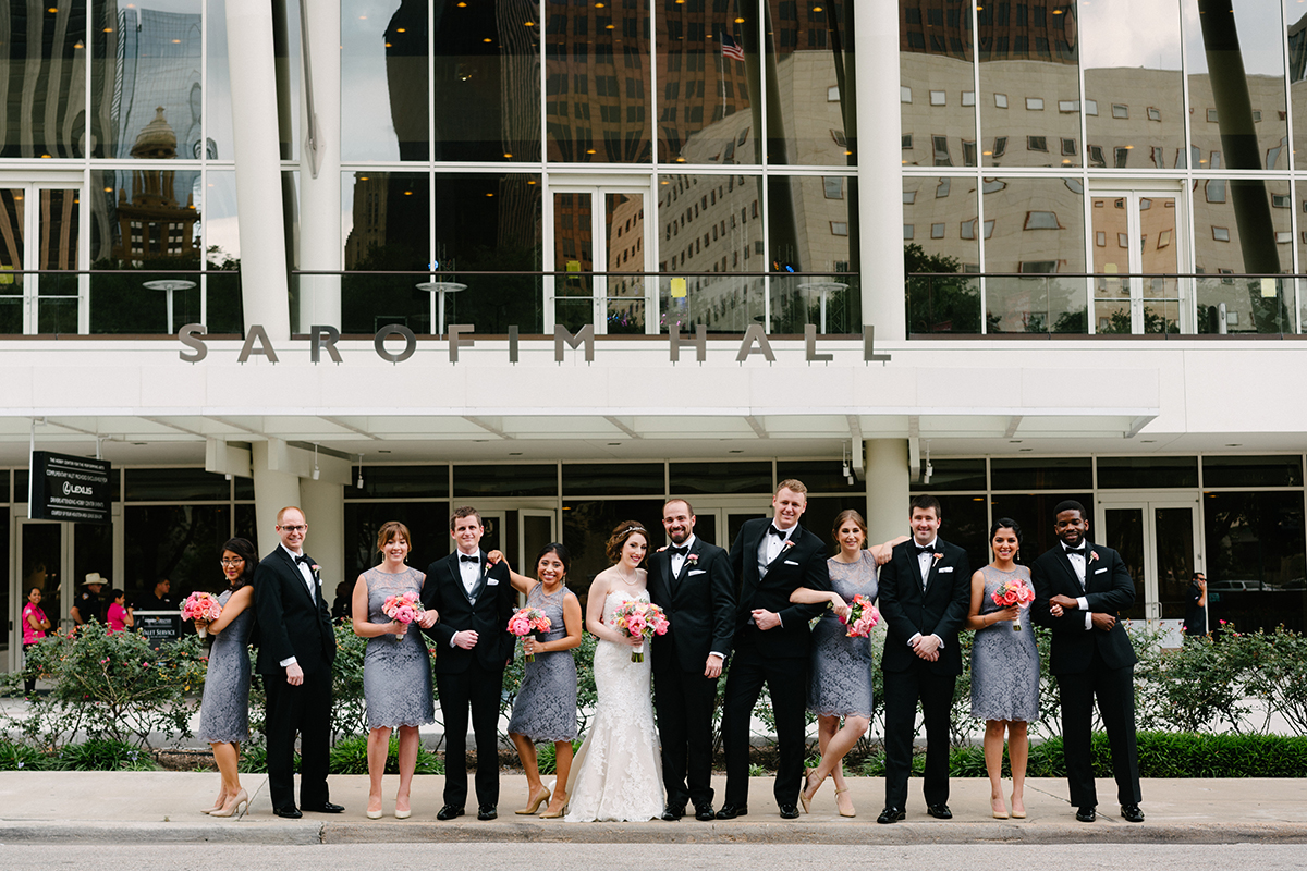 houston wedding, downtown, bridal party, groomsmen, bridesmaids
