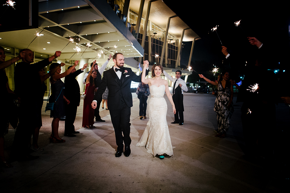 houston wedding, downtown, couple exit