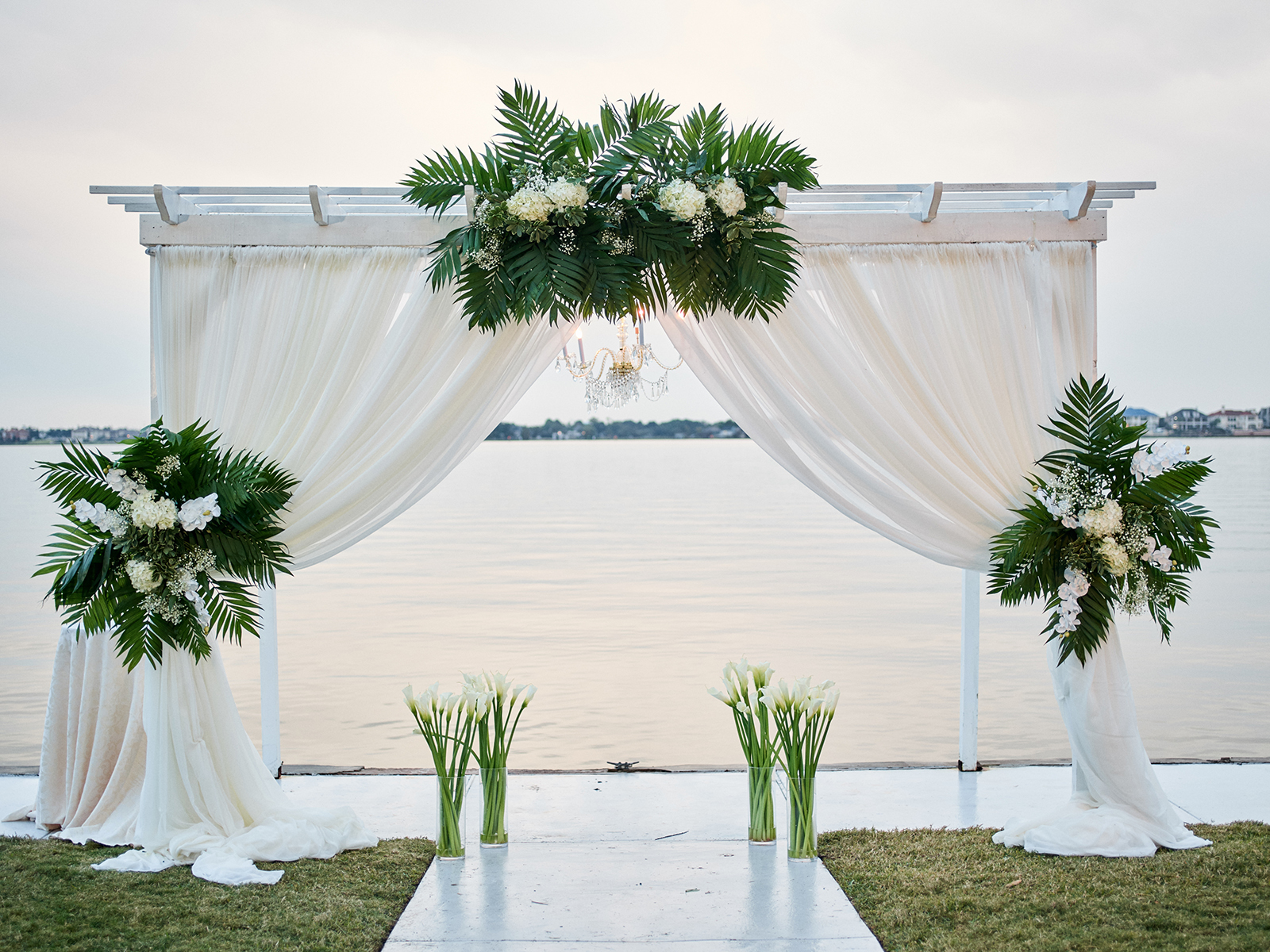 wedding ceremony altar, gorgeous - luxe - waterfront venue